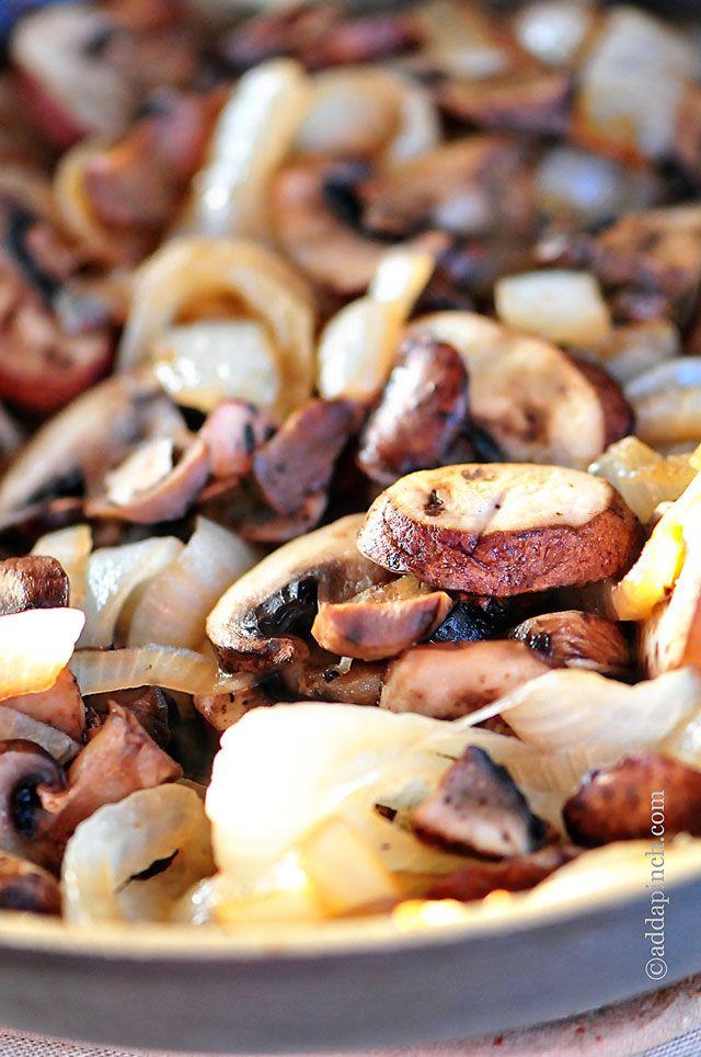 Mushroom Onion Saute Recipe | ©addapinch.com