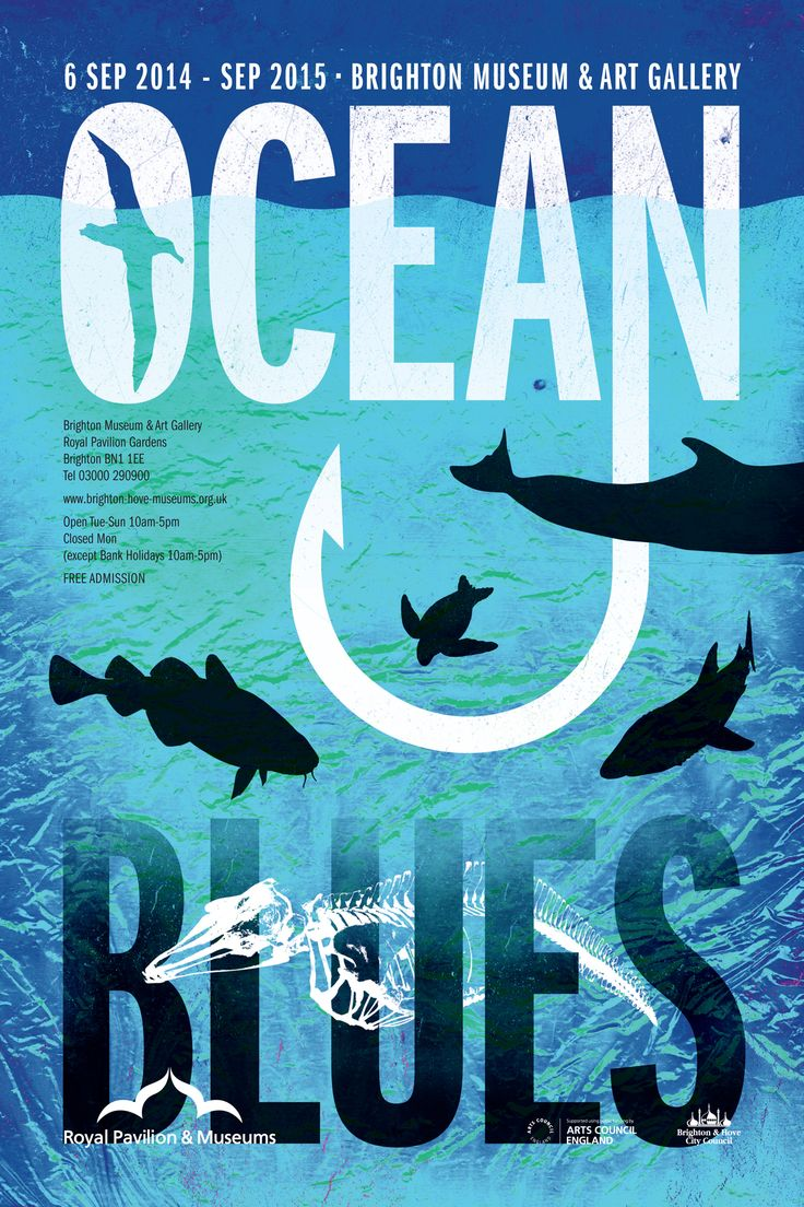 Ocean Blues. Poster design for an exhibition about sea pollution at Brighton museum.