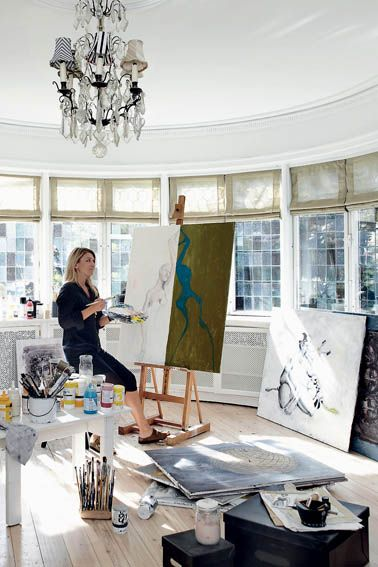 What an amazing place to work - love the windows. I'm not a painter, maybe I can just have one and let my sister do the painting.