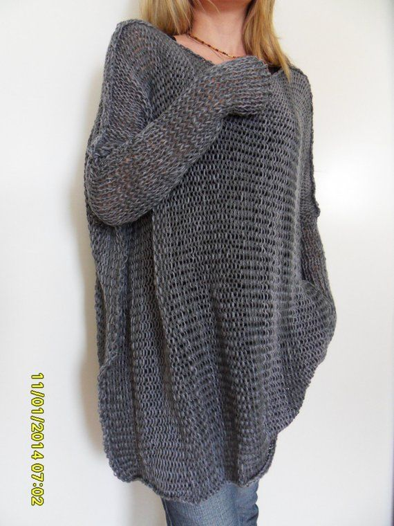 8815949a5 Spring Summer cotton blend sweater. Oversized  Slouchy   Loose knit ...