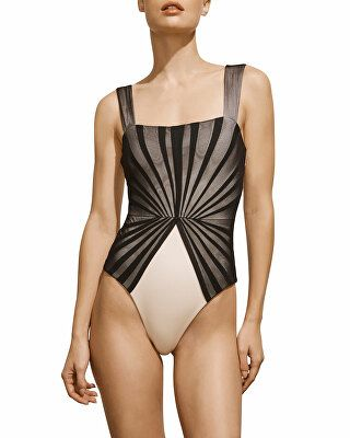 5326b11a3e Amaio Swim Designer Avril Pleated-Mesh Maillot, Black and Ivory ...