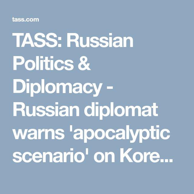 TASS: Russian Politics & Diplomacy - Russian diplomat warns 'apocalyptic scenario' on Korean Peninsula possible