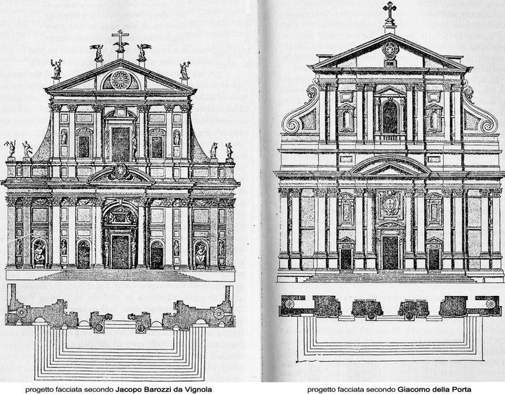 confronto fra i progetti di Vignola e Giacomo Della Porta - Chiesa del Gesù, Roma