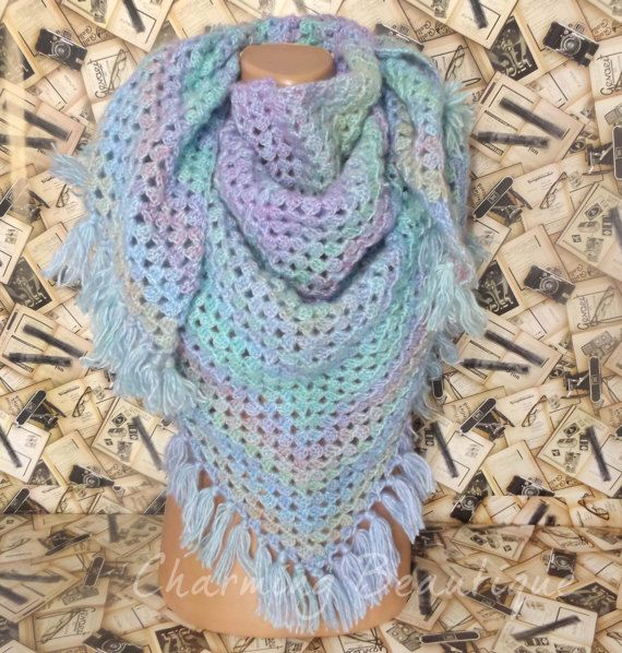 Crochet Mermaid Shawl With Tassel Triangular  by CharmingBeautique