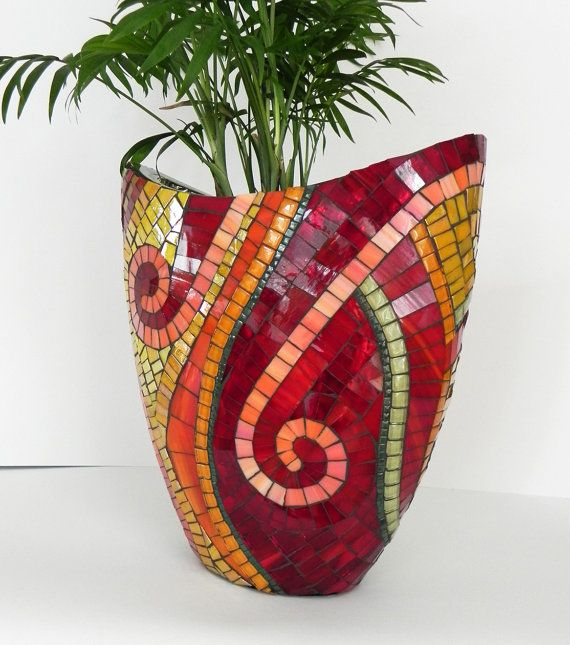 Decorative stained glass mosaic vase on ceramic base. Made with mini glazed ceramic tiles, glas tiles and hand cutted stained glas. Charcoal