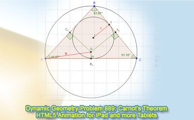 Dynamic Geometry Problem 889: Carnot's Theorem in an acute triangle, Circumcenter, Circumradius, Inradius. GeoGebra, HTML5 Animation for Tablets (iPad, Nexus). Levels: School,  College, Mathematics Education