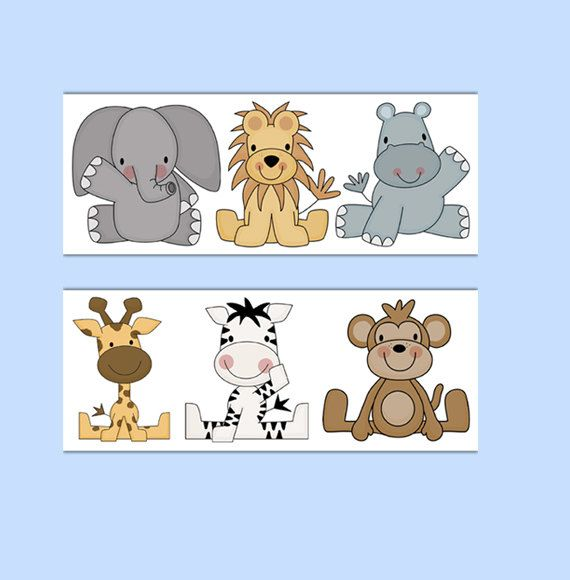 ANIMAL WALLPAPER BORDER Wall Decals Baby Boy Jungle Safari Zoo Nursery Children's Room Decor #decampstudios