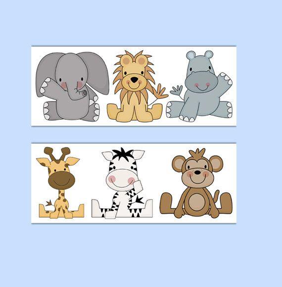 ANIMAL WALLPAPER BORDER Wall Decals Baby Boy Jungle Safari Zoo Nursery Children's Room Decor #decampstudios
