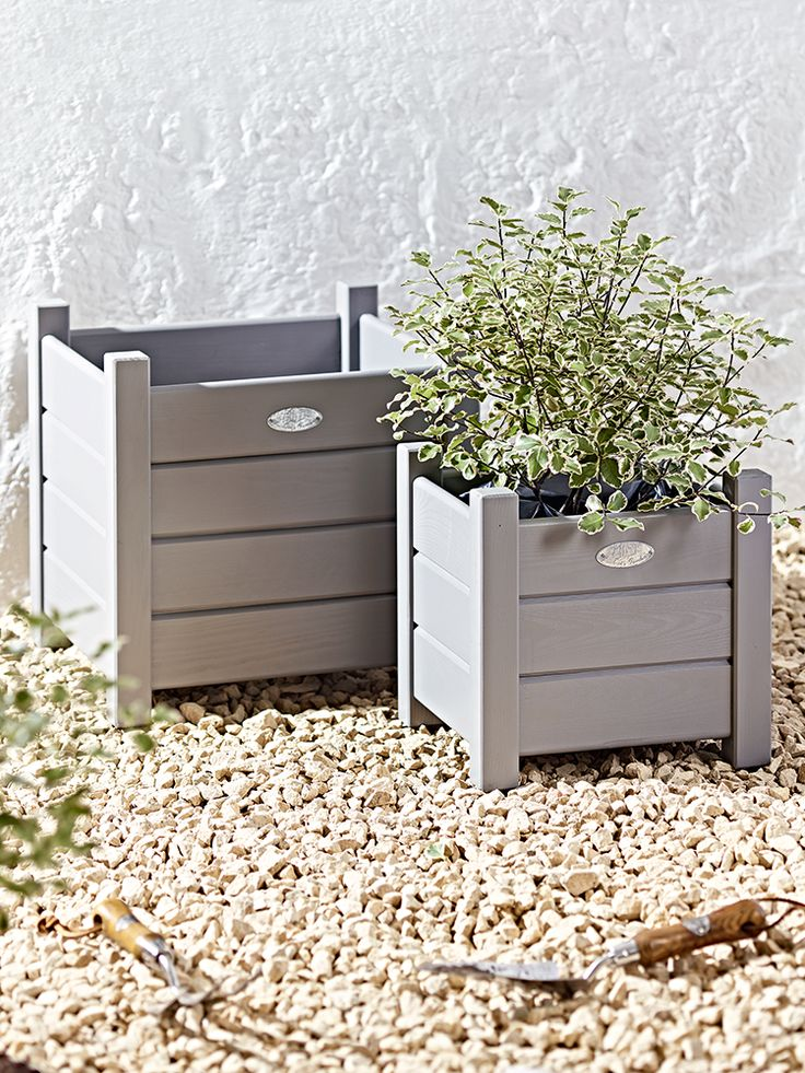 These dove grey planters bring to mind summer days in Provence.