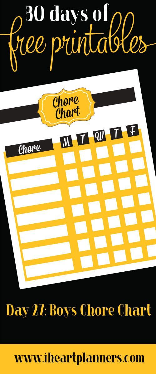 30 days of free printables | Day 27: Boys chore chart because sometimes boys want different colors than the girls.