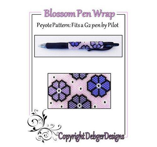 Blossom G2 Pen Wrap-Beaded Flat Peyote Pattern