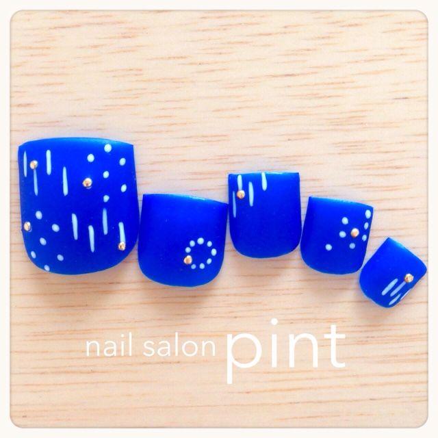 ネイル デザイン 画像 954682 ブルー 和 浴衣 ソフトジェル フット ショート