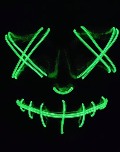 GREEN LED NEON GLOW LIGHT UP PURGE MASK FOR DJ, RAVE, EDC, ULTRA, FESTIVAL, CONCERT, COACHELLA