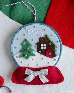 betz white snow globe ornament pattern.  Pattern is for sale - use for inspiration.
