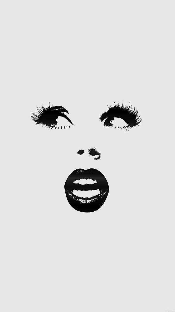 Iphone wallpaper tumblr lips - Girlish Girly Face Lips Eyes Minimalistic Stylish Girl Black And White Hd Iphone 6 Plus Wallpaper