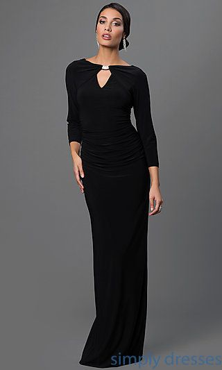 Marina Floor Length Keyhole Gown with Sleeves