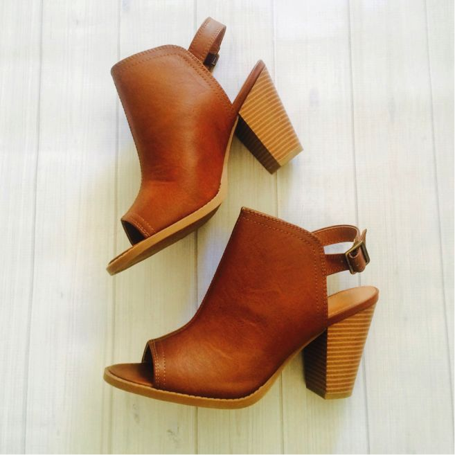 reminds me of the 70's styled shoes / clogs - LC Lauren Conrad for Kohl's Peep Toe Booties in Cognac