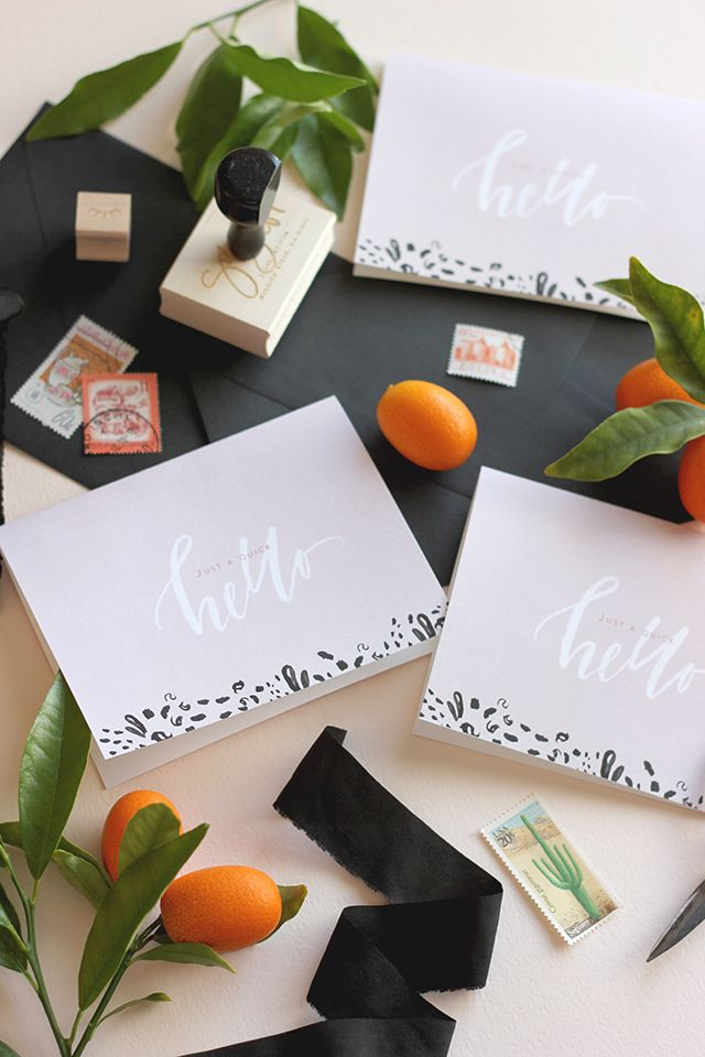 Printable Calligraphy Hello Note Cards by A Fabulous Fete for Oh So Beautiful Paper