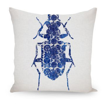 ArtboxONE Kissen 50x50 Cm Tiere Abstrakt Floral Geometrie Natur Architektur Fiktion Blue Bug I Blau Beidseitig