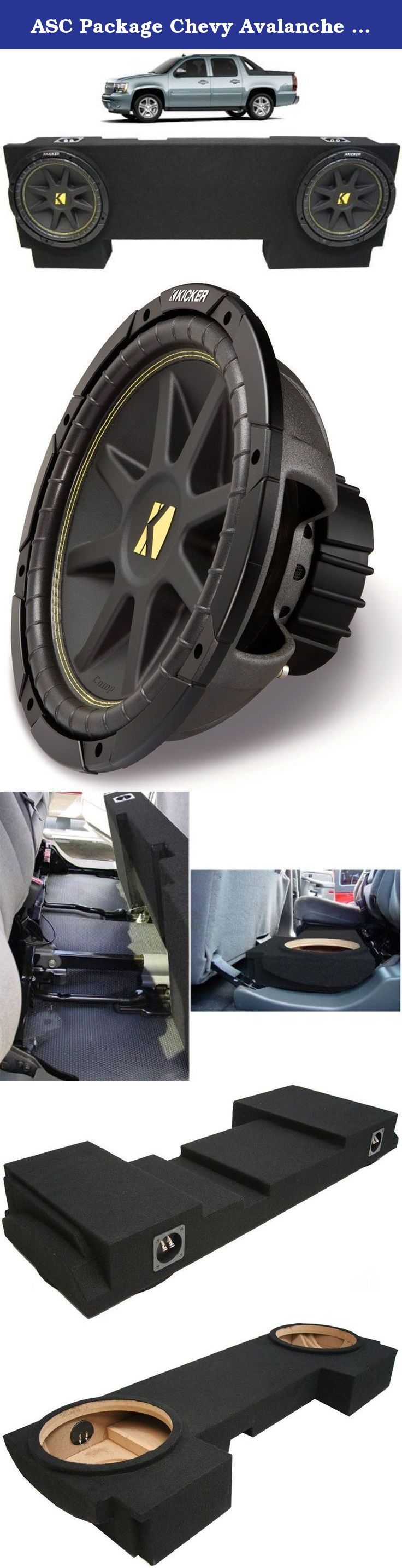 "ASC Package Chevy Avalanche 02-13 Dual 12"" Kicker C12 Subwoofer Under Seat Sub Box Enclosure 600 Watts Peak. This Package Includes: 1 x 2002-2013 Chevy Avalanche Car Audio Custom Dual 12"" Subwoofer Enclosure Sub Box 2 x Kicker C12 12"" Subwoofer Single 4 Ohm 150 Watts (10C12-4) 2002-2013 Chevy Avalanche Car Audio Custom Dual 12"" Subwoofer Enclosure Sub Box Specifications: Features: 2002-2013 Chevy Avalanche Car Audio Custom Dual 12"" Subwoofer Enclosure Air Space: 0.48 Cubic Feet per Sub..."