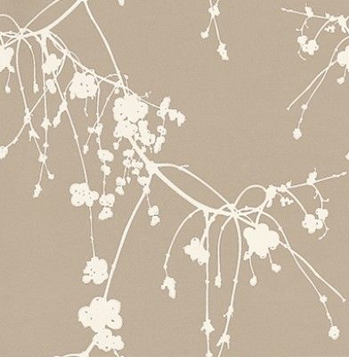 Snowberry White (TCW1001-02) - Tapet-Cafe Wallpapers - A delicate and charming design, featuring a trailing Danish snowberry branch. The hand drawn effect creates a tranquil and flower-like feel to this wallpaper,  and the metallic background with the matt finish creates a modern yet classic feel. Shown here in metallic taupe and cream. Other colourways are available. Please request a sample for a true colour match. Paste the wall product.