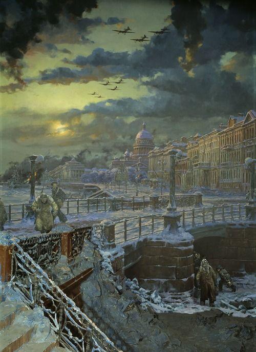 Russian  WW2  E.A. Korneev. The Siege of Leningrad  1951
