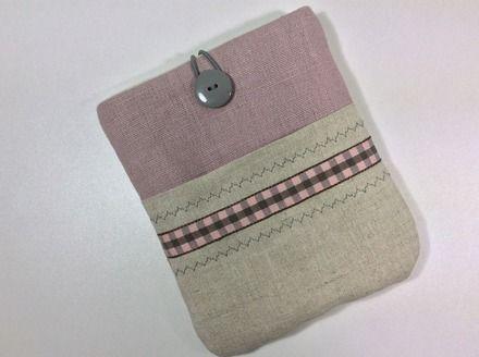 Pochette pour liseuse Kobo Aura en duo de lin naturel et rose tendre, housse ebook , étui liseuse électronique.  : Autres sacs par sepia