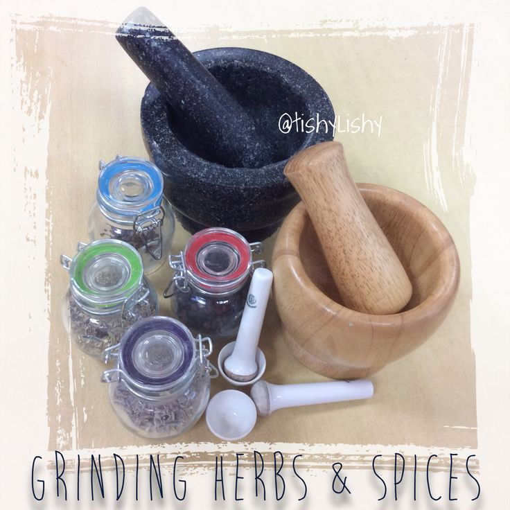 Herbs and spices available for grinding into plain dough.