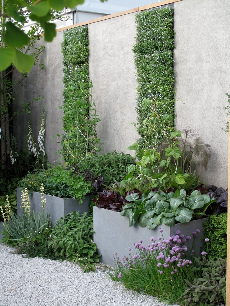 Great design with the vertical wall planters reaching from the lower planters