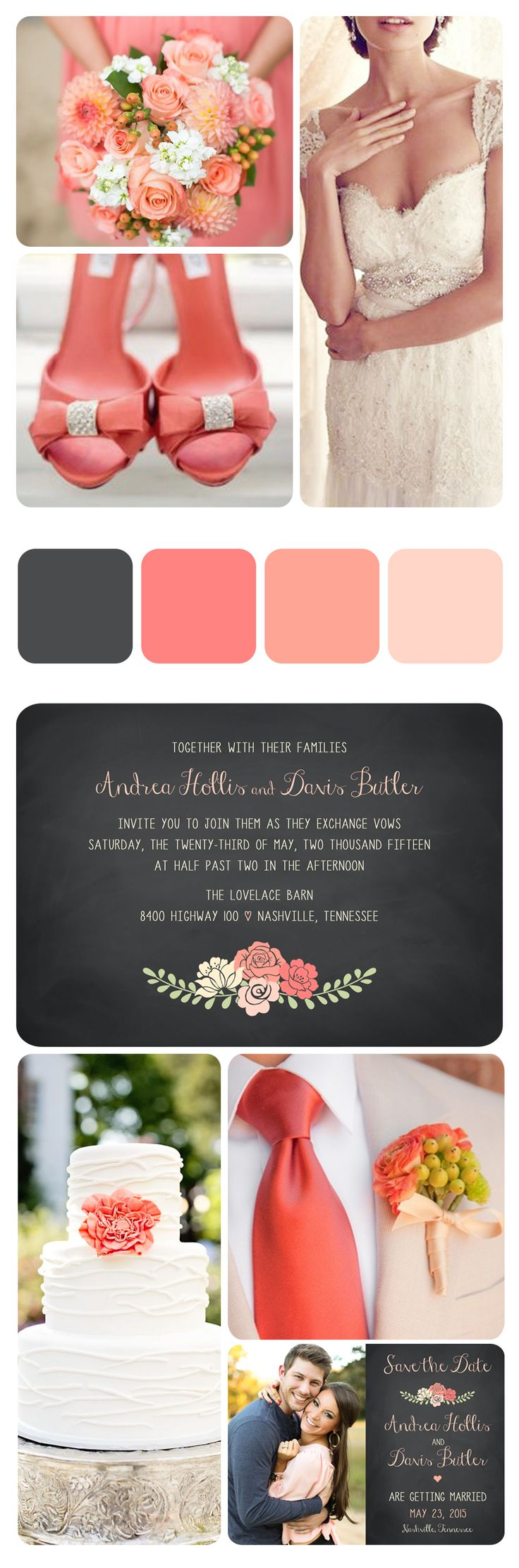 Vintage Coral & Lace Wedding . Chalkboard Invitations . Save the Dates. White Wedding Cake. Printable Designs. Coral Bouquet. http://vintagesweetdesign.etsy.com