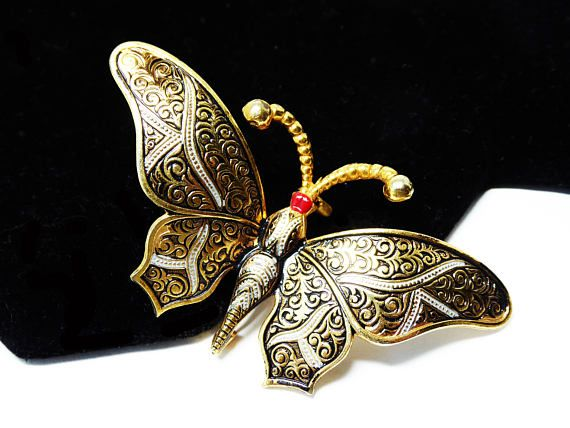 Vintage Damascene Butterfly Brooch  Gold tone Black and Red