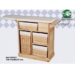 Mueble plancha madera color haya 4 cestas mimbre en for Cestas mimbre ikea