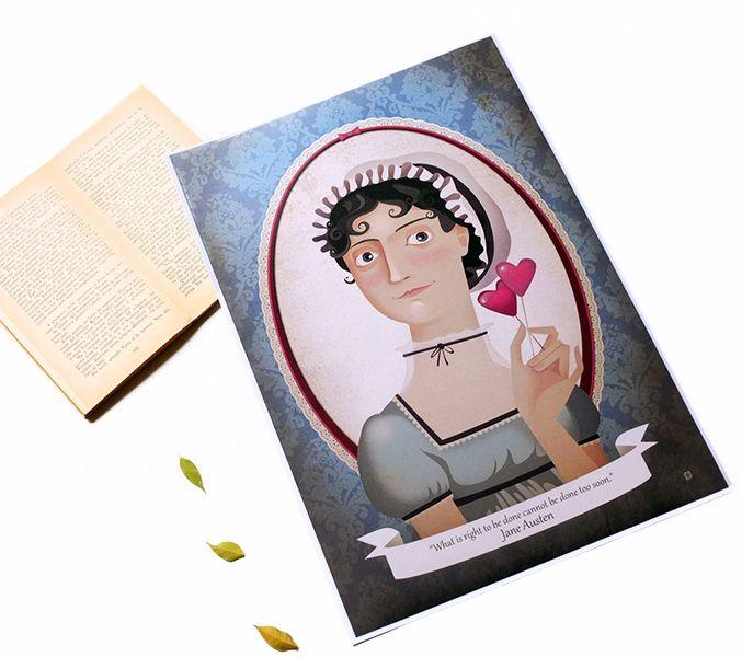 Jane Austen portrait di Mrs Peggotty arts su DaWanda.com
