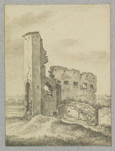 Gezicht op een geruïneerd gebouw aan het Zwarte Water te Utrecht, Herman Saftleven 1674