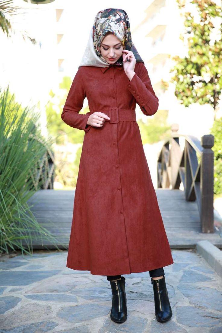 ** SONBAHAR / KIŞ ** Önden Düğmeli Süet Elbise Tunik  Koyu Kiremit Ürün Kodu: KWL3068-1--> 99.90 TL