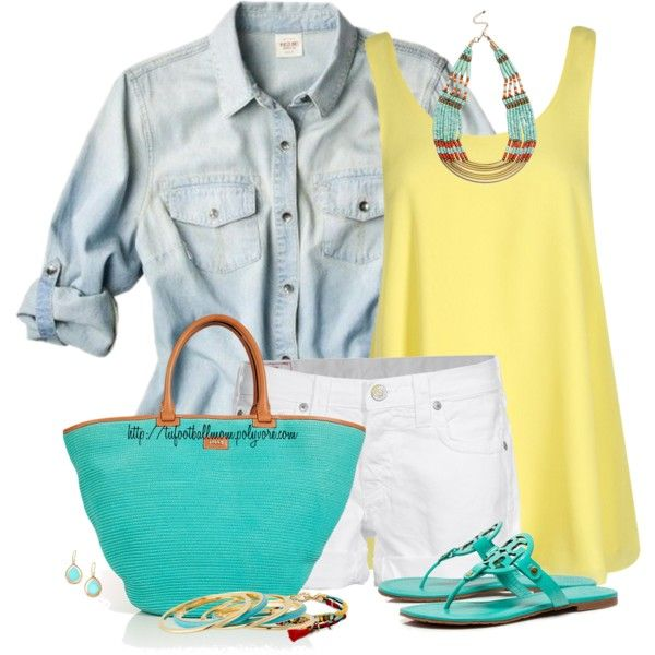 Solid Yellow Cami & White Shorts for Summer by tufootballmom on Polyvore featuring Boohoo, True Religion, Tory Burch, Emilio Pucci, Sole Society, Michael Kors and Ippolita