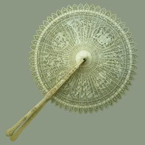 Ivory cockade fan c.1790, Cantonese Made for the Prince of Wales (later George IV). From The Royal Collection © 2012, Her Majesty Queen Elizabeth II
