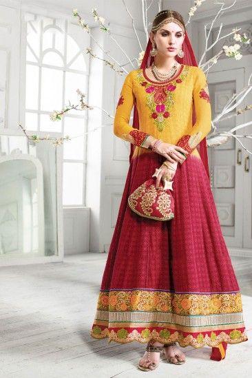 Pink Yellow Georgette Anarkali Salwar Kameez - DMV13011