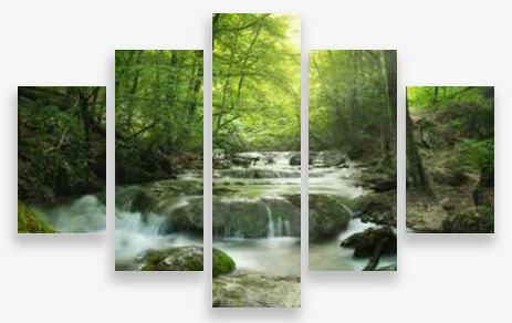 Canvas Wall Art 5 Panel Framed Multi Print- Forest Waterfall