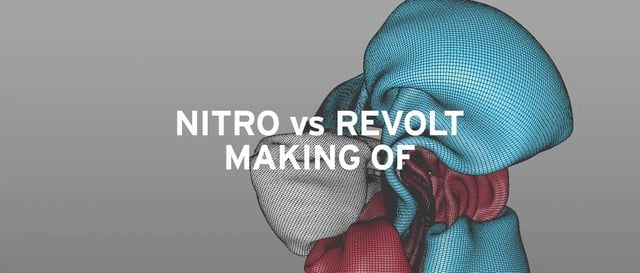 "R&D done at Head for Nitro vs Revolt, using Ncloth from Maya, C4D and composed with AE.  Final piece: https://vimeo.com/147477913  Music: ""Nights Off"" by Siriusmo  Jordi Pages // www.jordipages.com"