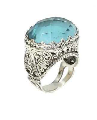 925 Ayar Gümüş Mavi Kuvars Taşlı Tasarım Antik Yüzük