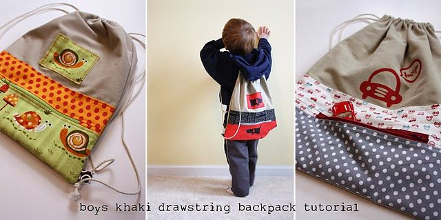 Drawstring Backpack TutorialSewing, Backpacks Tutorials, Khakis Pants, Bags Tutorials, For Kids, Pants Tutorials, Boys Drawstring, Drawstring Backpacks, Drawstring Bags