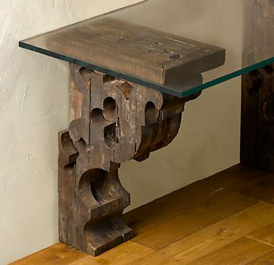 Corbel-Glass-Console - use corbels to make a hallway table or shelf -