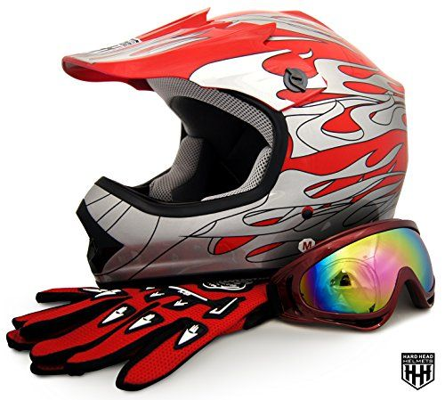 HHH DOT Youth & Kids Helmet for Dirtbike ATV Motocross MX Offroad Motorcyle Street bike Red Net, Red Flame + WITH FREE GLOVES AND GOOGLES (Medium, Red Flame)  Please measure for size. Each manufacturers sizing is different. SIZE CHART (Circumference of the largest part of the child's head, usually just above the eyebrows) in inches: Youth Small: 19.2 to 19.7 to, Youth Medium: 20.1 to 20.5, Youth Large: 20.9 to 21.5, Head shapes can affect how a helmet fits. The size chart is meant to b...