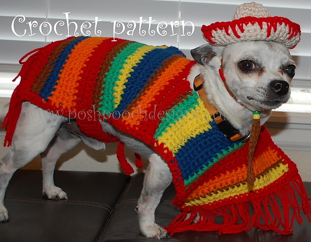 "Original pinner wrote, ""Ravelry: Dog Sombrero and Poncho Set pattern by Sara Sach"