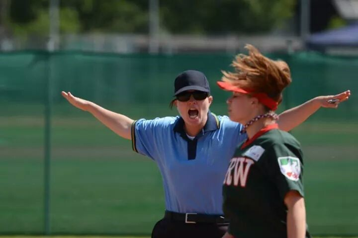 female fastpitch umpire Bridget Cameron