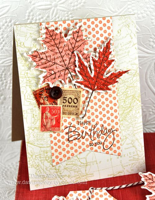 Leaf Prints Birthday Card by Dawn McVey for Papertrey Ink (August 2012)