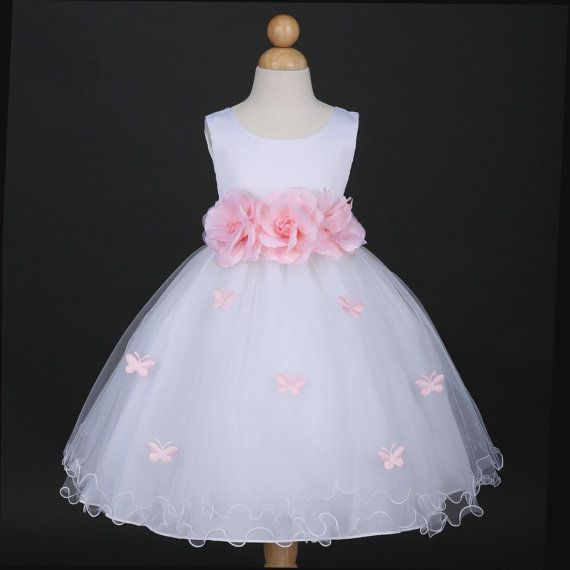 White with Baby pink  butterfly petal baby Infant easter party wedding flower girl dress 6M 12m 18m 2 4 6 8 10 F14WH