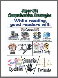 comprehension strategies: Comprehen Languageart, Comprehen Language Art, Comprehension Strategies, Super Six Comprehen, Comprehen Strategies, Comprehen Posters, Reading Comprehension Posters, Comprehension Anchors, Anchors Charts