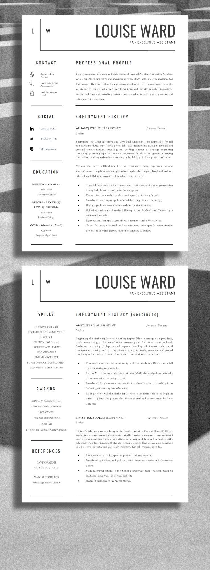 Clean Resume Word Template InDesign INDD design